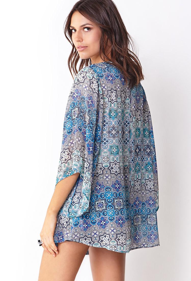 Lyst - Forever 21 Ornate Chiffon Kimono in Blue