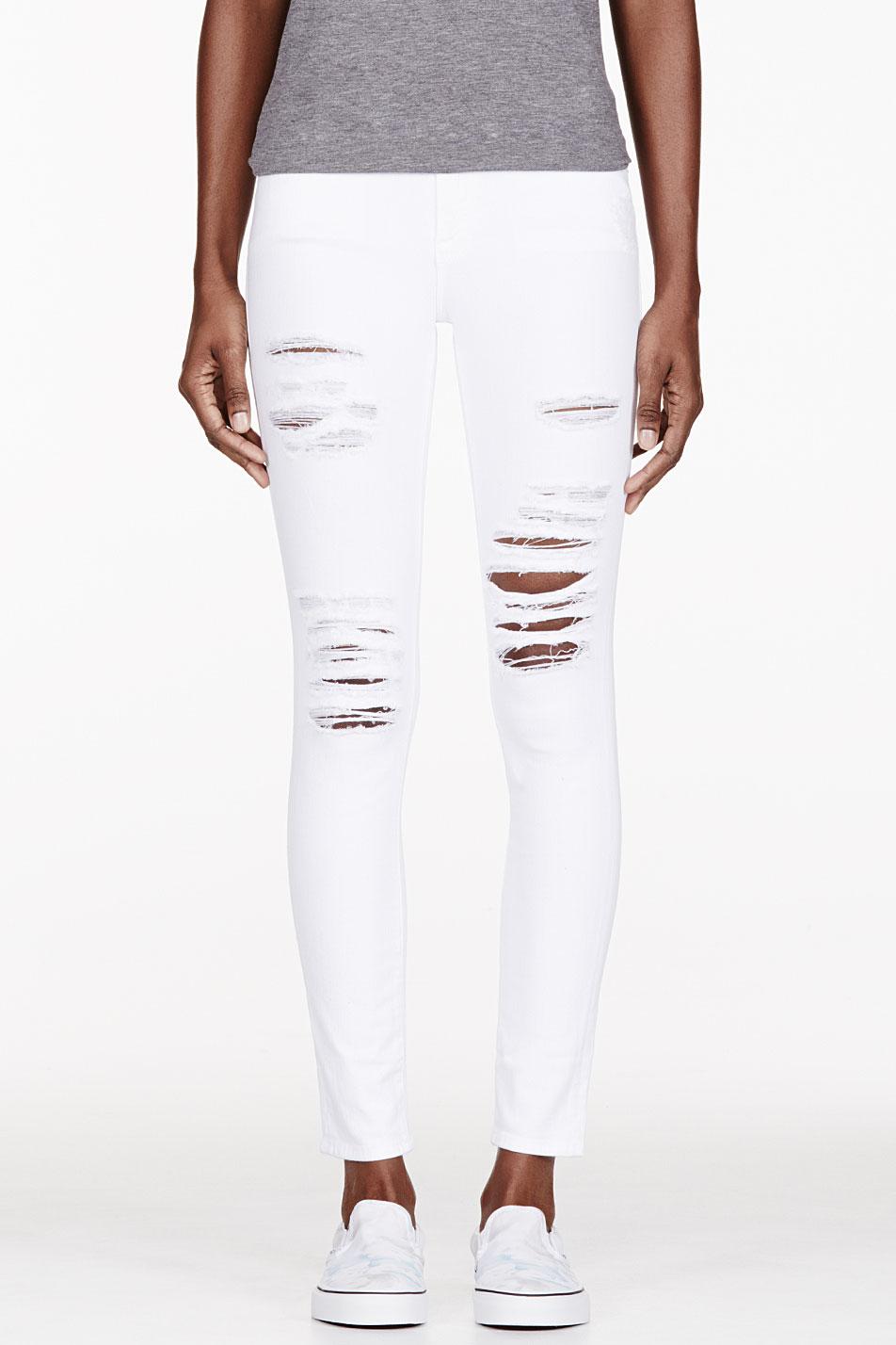 Frame Denim Le Color Rip Skinny Jeans In White Lyst