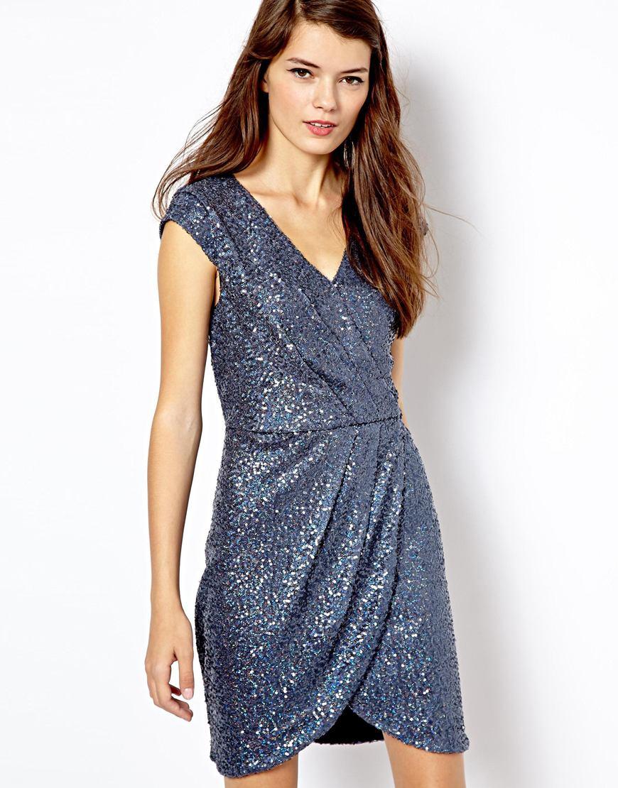Oasis Sequin Wrap Dress in Blue  Lyst