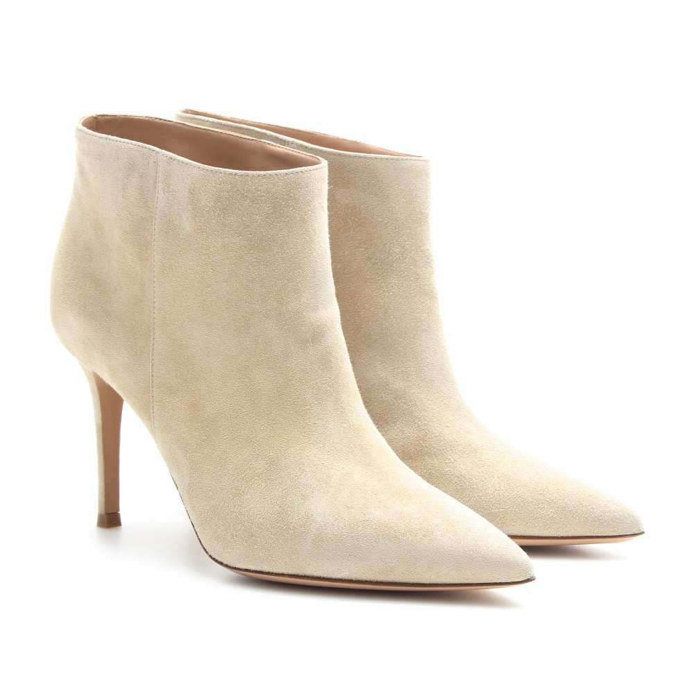 gianvito suede ankle boots in beige lyst
