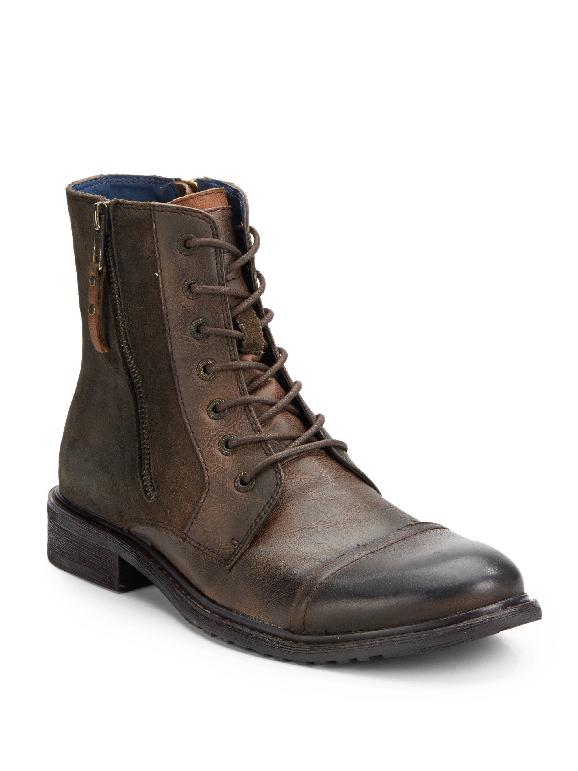 Saks Fifth Avenue Side Zip Leather Work Boots In Brown For