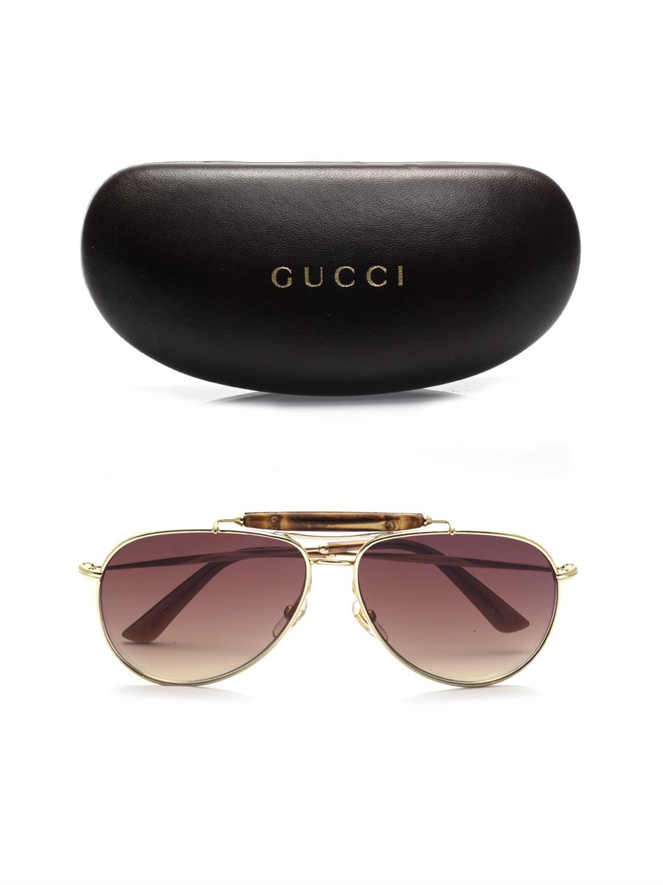 Gucci Bamboo Aviator Style Sunglasses In Brown For Men Lyst