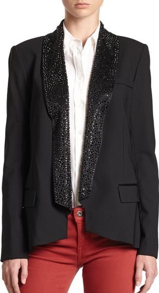 Haute Hippie Beaded Lapel Blazer in Black