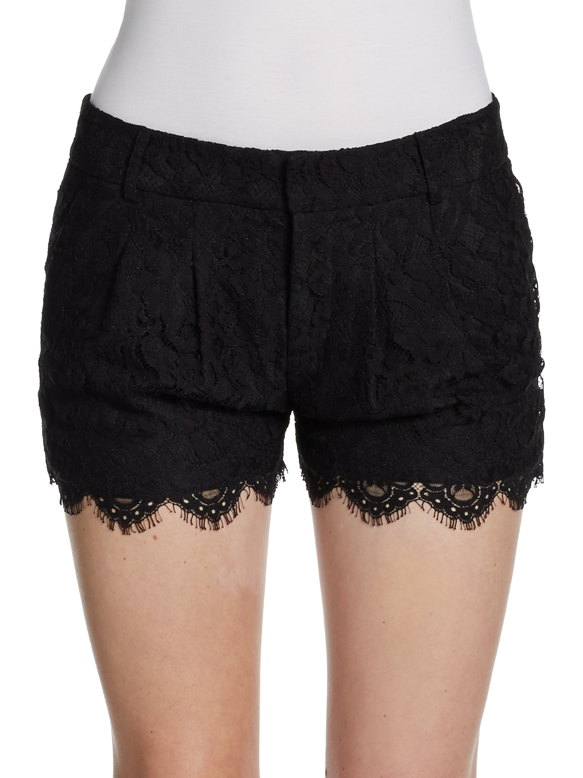 Haute Hippie Scalloped Lace Shorts In Black