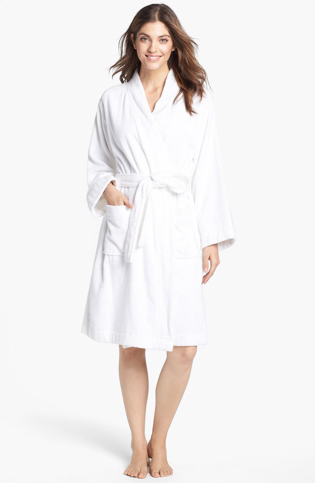 lauren by ralph lauren cotton terry robe in white lyst. Black Bedroom Furniture Sets. Home Design Ideas