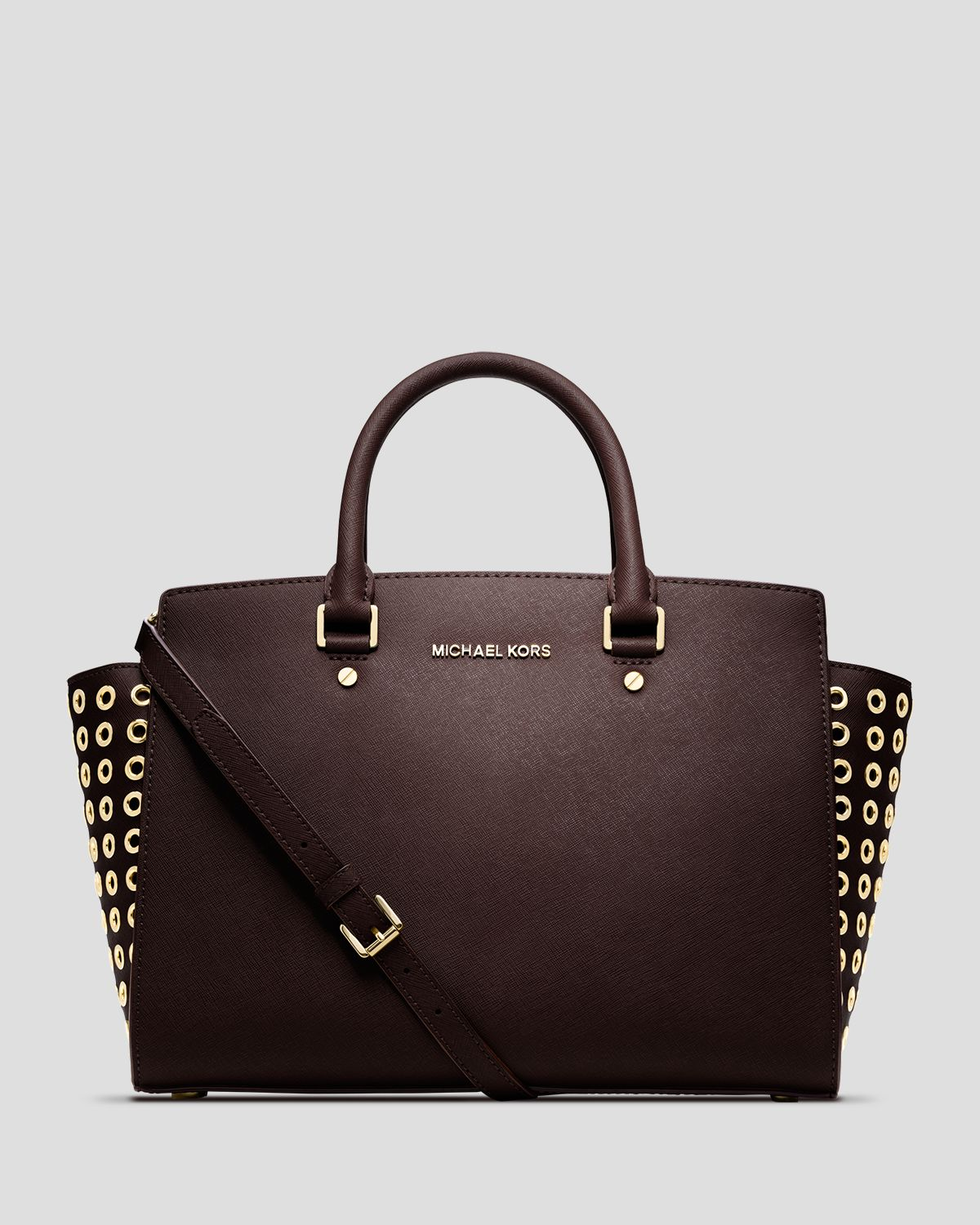 michael michael kors satchel selma grommet large in brown coffee lyst. Black Bedroom Furniture Sets. Home Design Ideas
