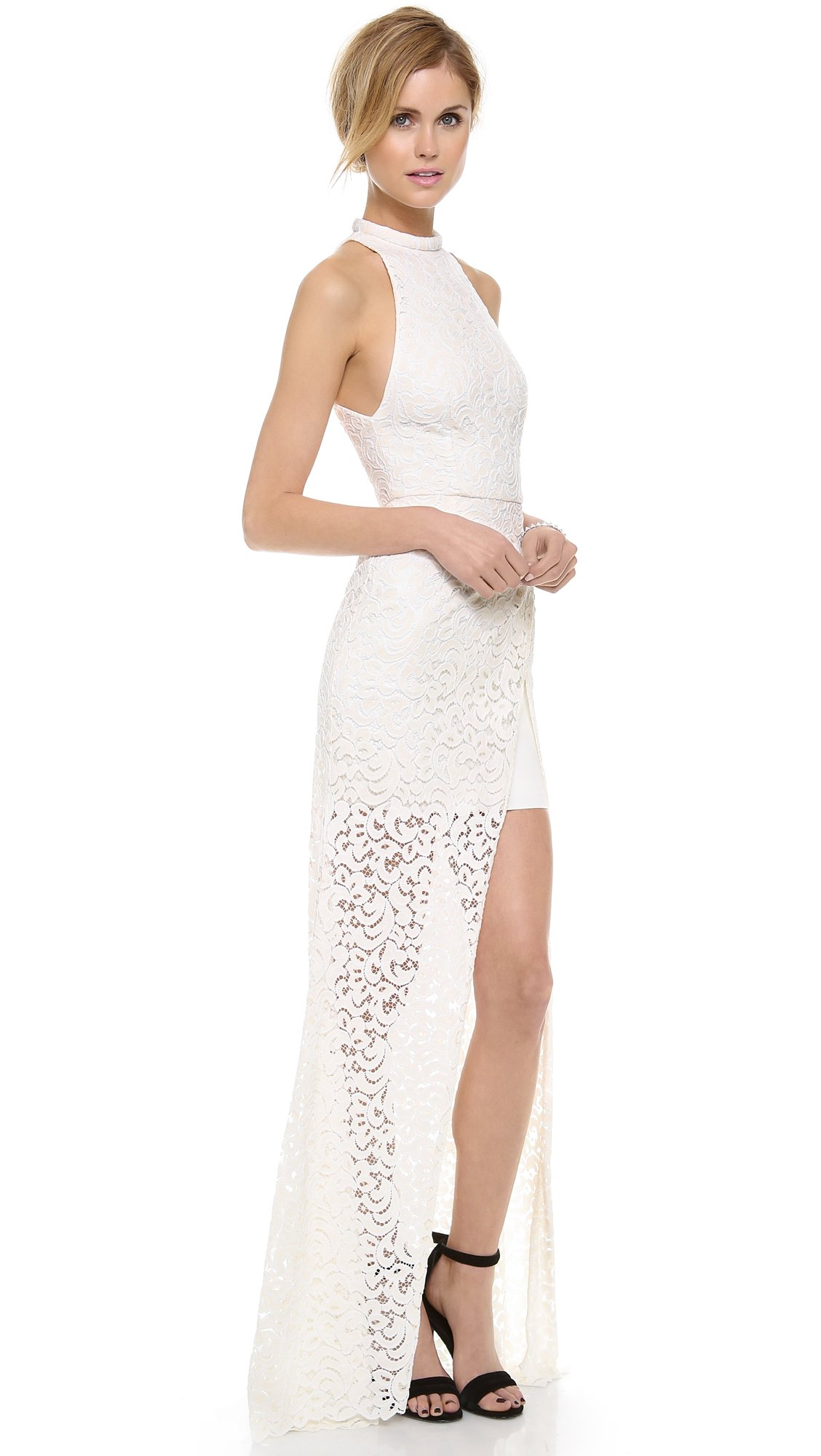 Nicholas Paisley Lace Maxi Dress in Ivory (White)