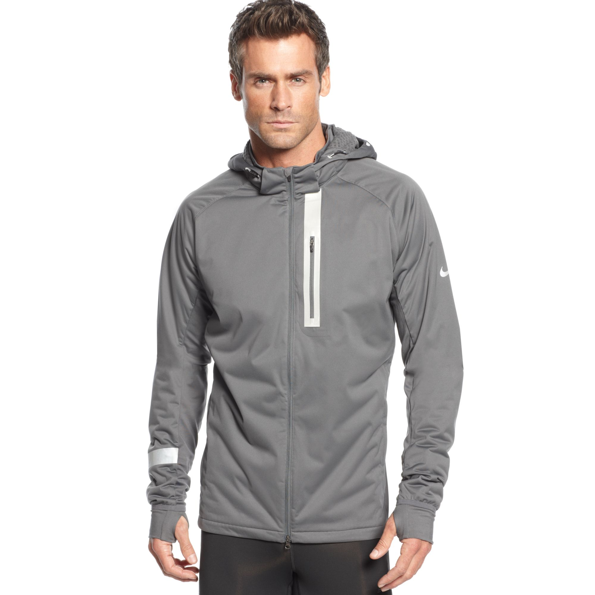 dfb2a8928848 Lyst - Nike Element Shield Max Hooded Jacket in Gray for Men
