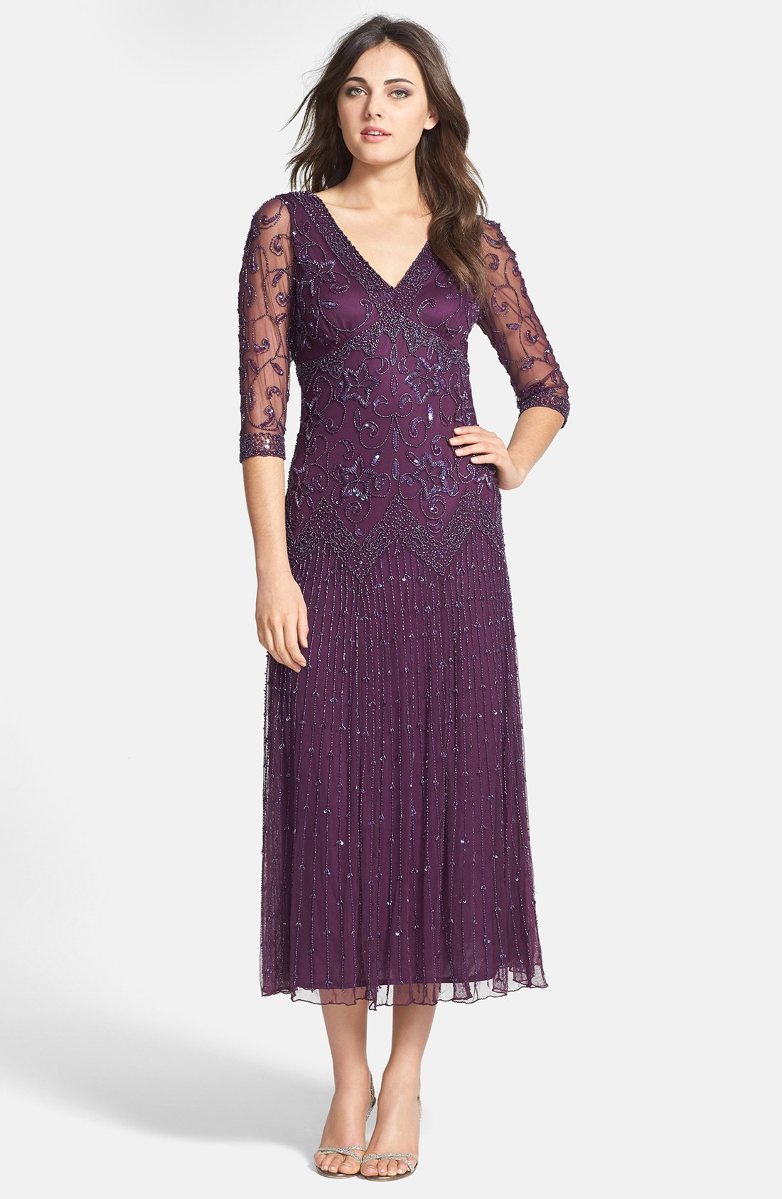 Pisarro Nights Beaded Mesh Dress In Purple Plum Lyst