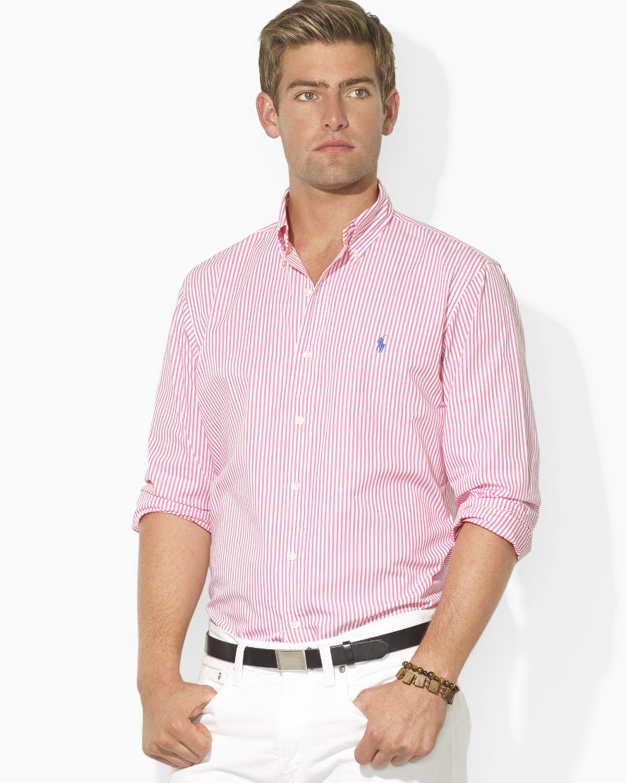 5b18cd9ac Ralph Lauren Polo Custom Fit Striped Poplin Sport Shirt in Pink for ...