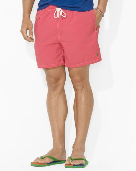 ralph lauren polo traveler nylon swim short in pink for men crosby red lyst. Black Bedroom Furniture Sets. Home Design Ideas