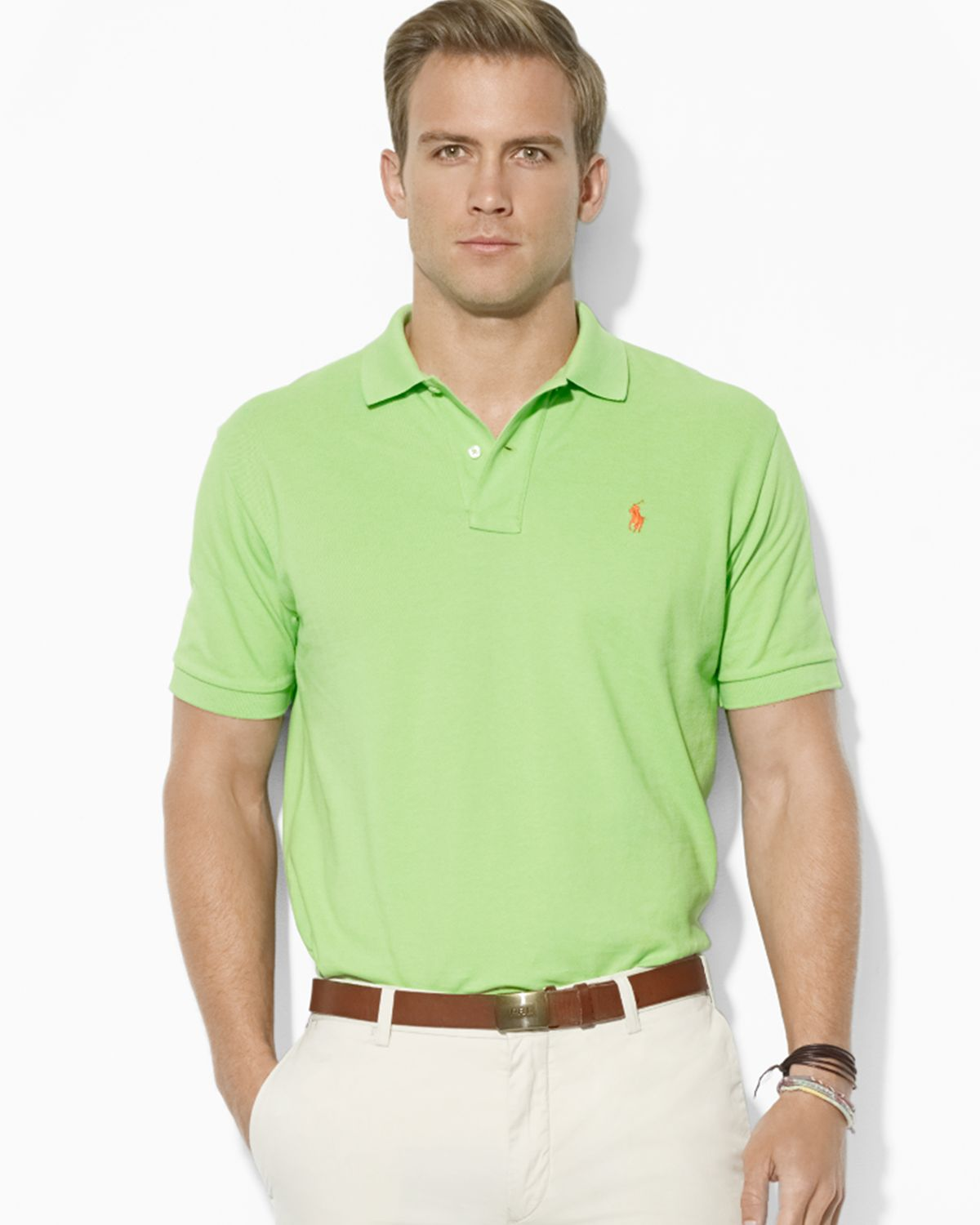 Ralph Lauren Short Sleeved Mesh Men Polo Light Blue .