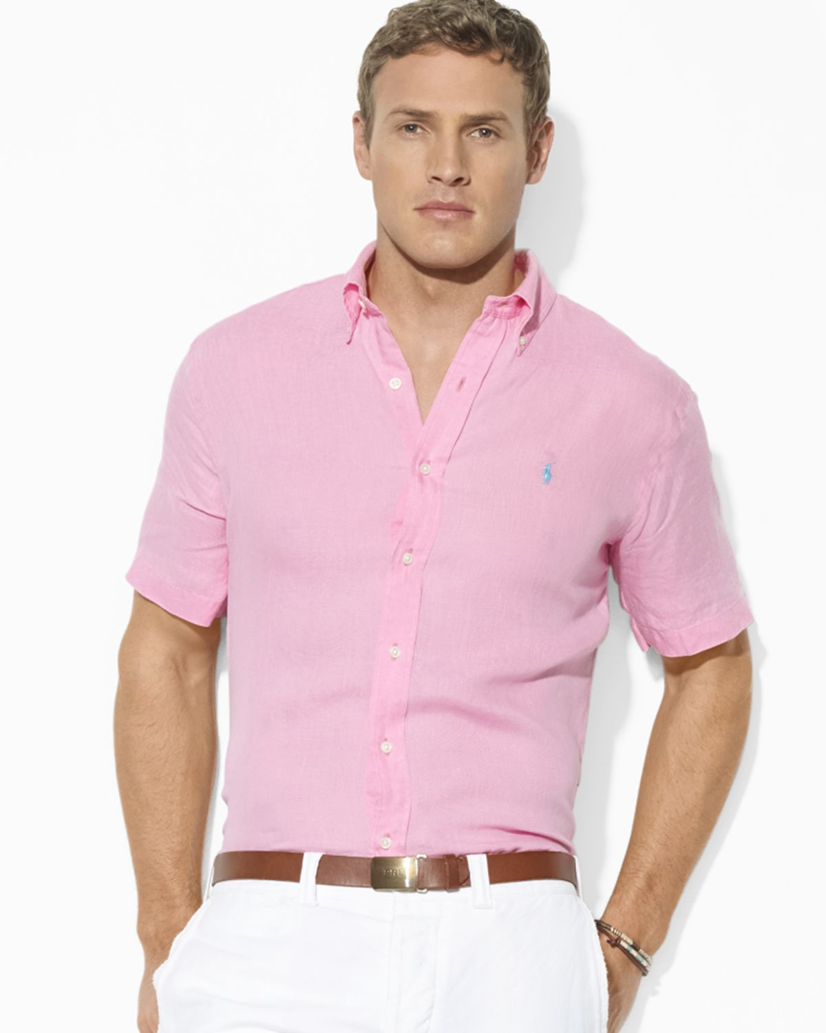 fd96312e Ralph Lauren Pink Polo Custom Fit Short Sleeved Solid Linen Sport Shirt for  men