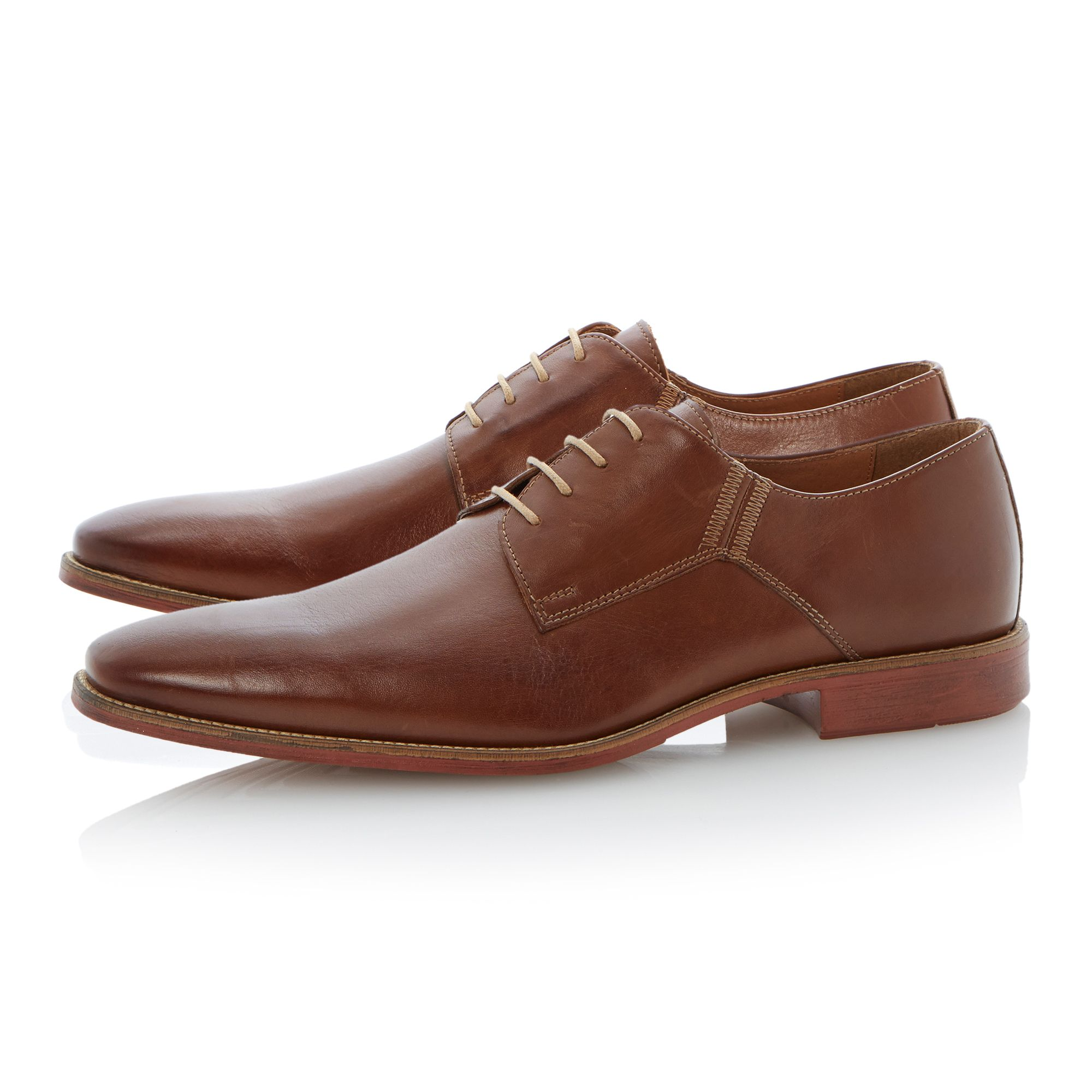 Roland Cartier Leather Belgravia Contrast Stitch Chisel Lace Up in Tan (Brown) for Men