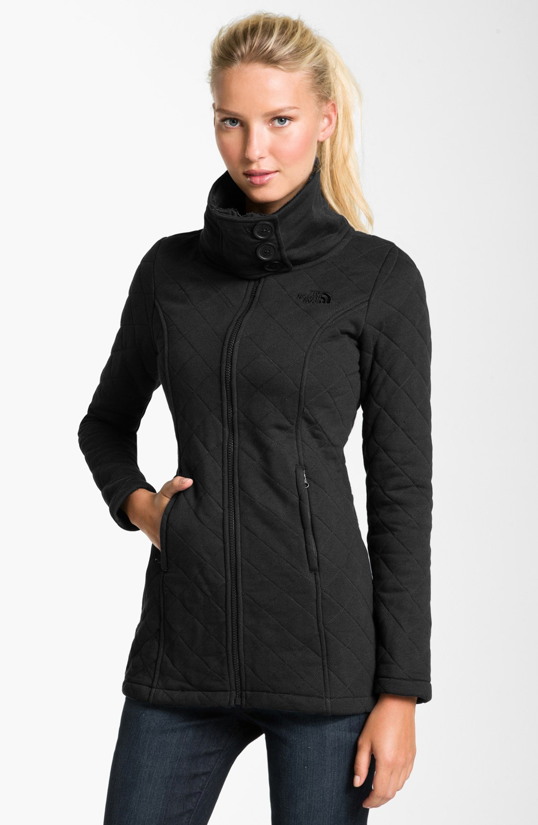 The North Face Caroluna Quilted Fleece Jacket In Black Lyst