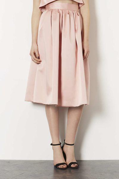 topshop limited edition duchess satin midi skirt in beige