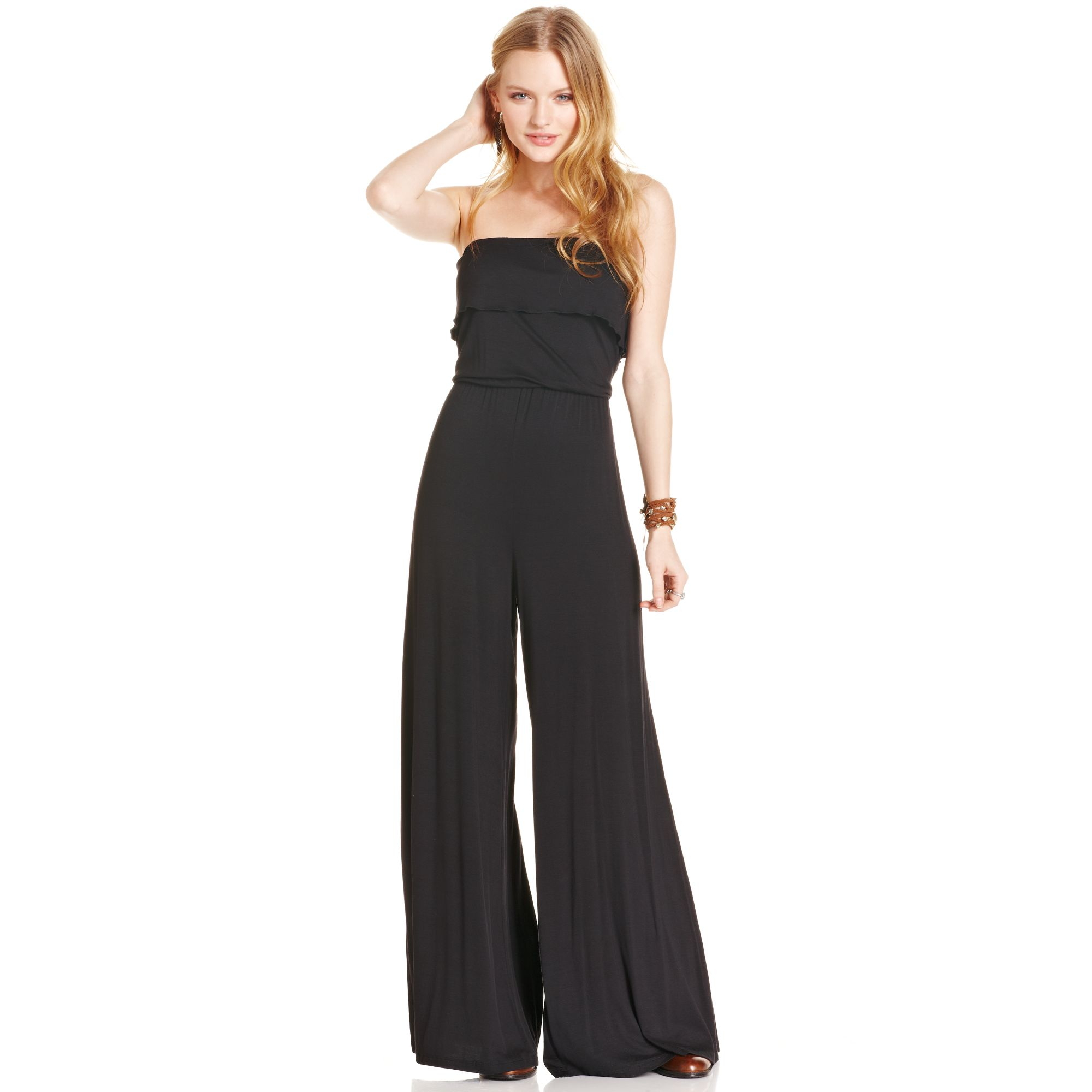 American rag Strapless Wide Leg Jumpsuit in Black | Lyst