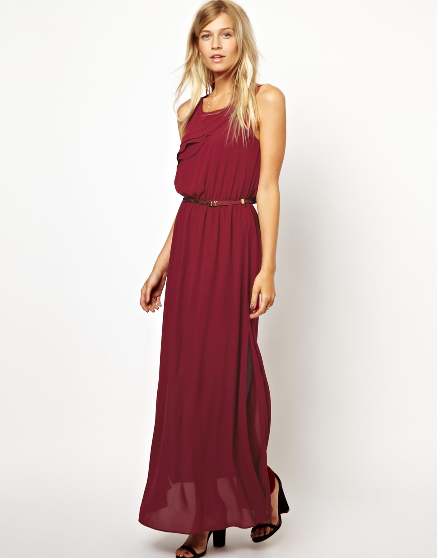 Asos Oasis Pleated Maxi Dress in Red | Lyst