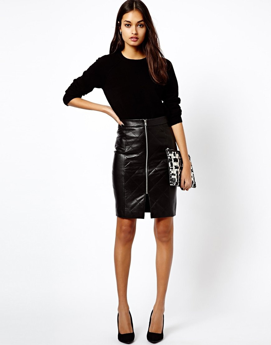 Asos Warehouse Leather Zip Front Pencil Skirt in Black | Lyst