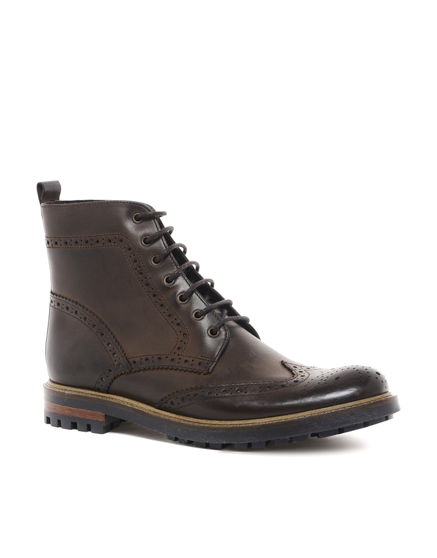 Lyst Asos Brogue Boots In Leather In Brown For Men