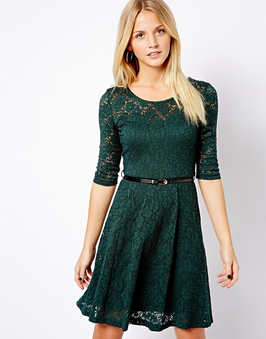 Lyst - Asos New Look 3/4 Lace Skater Dress in Green