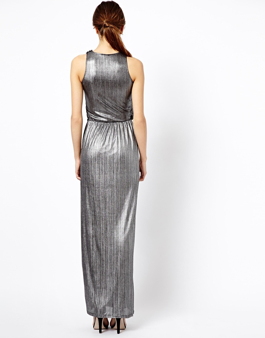 River island metallic maxi dress