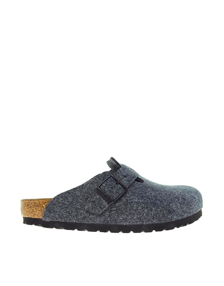 birkenstock boston gray slip on clog shoes in gray grey
