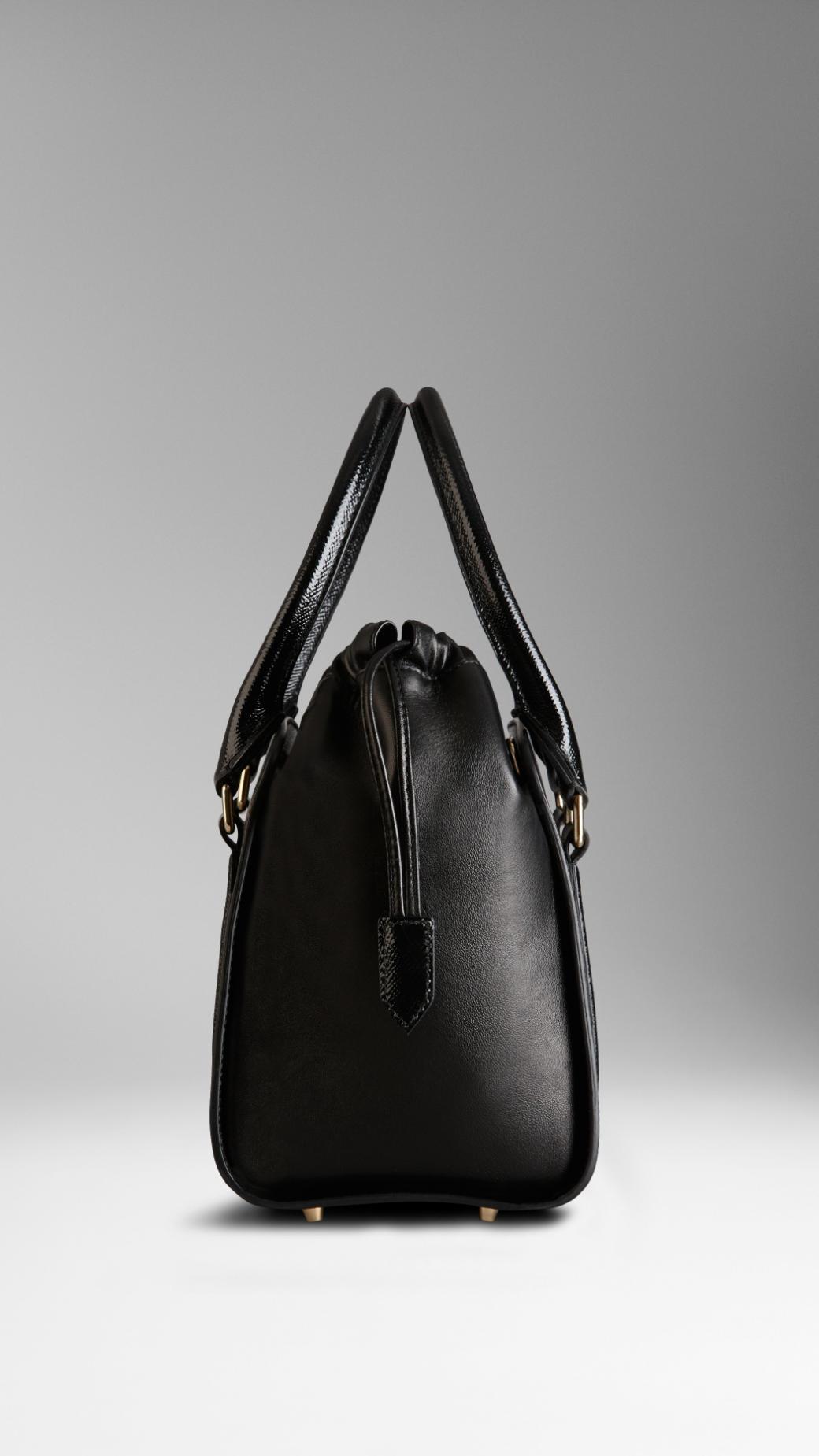 d446e6bca49e4 Lyst - Burberry Small Patent London Leather Tote Bag in Black