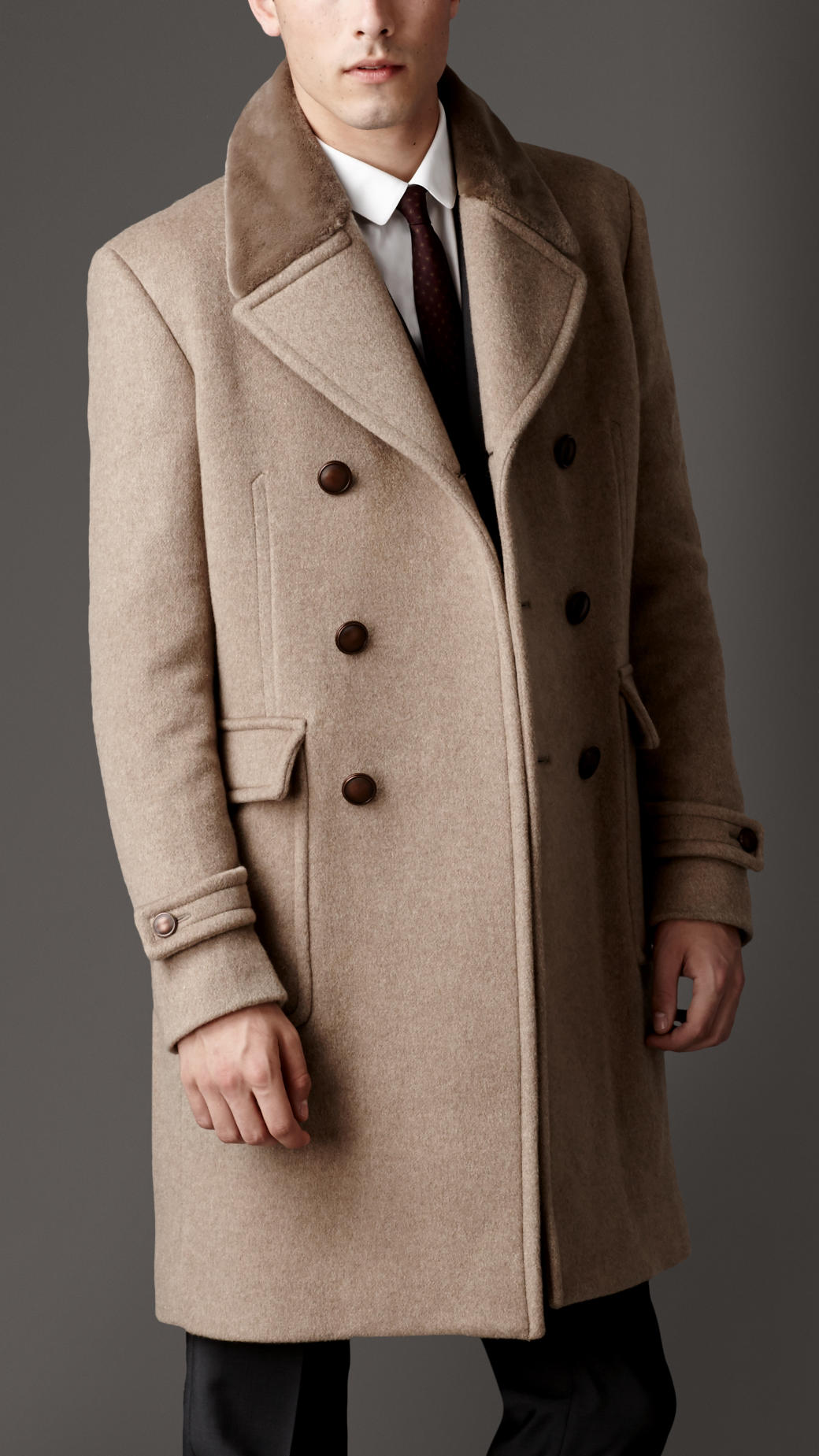 Burberry Mink Collar Cashmere Coat in Natural for Men Lyst