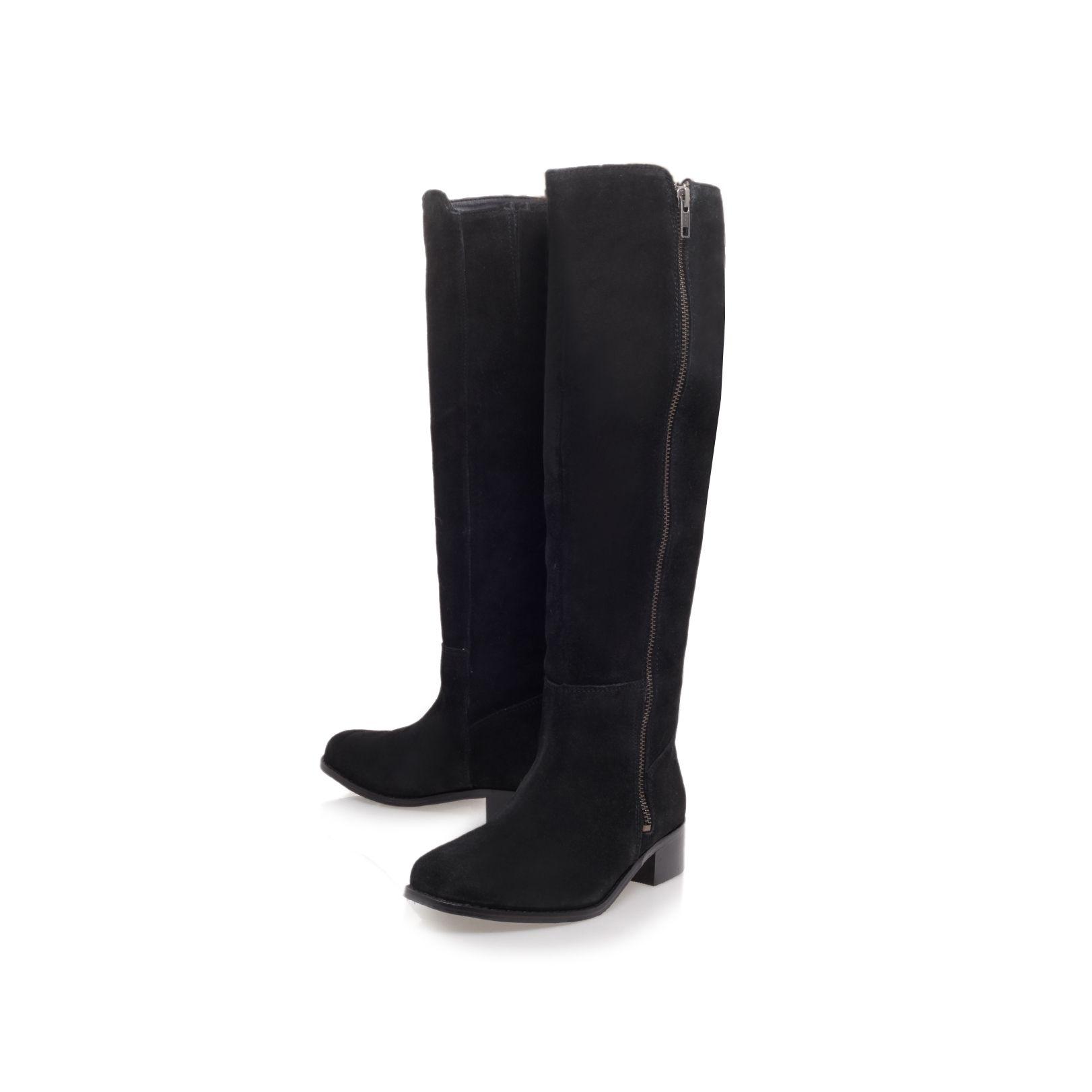 Carvela Kurt Geiger Paris Low Heeled Knee Length Boots in Black Suede (Black)