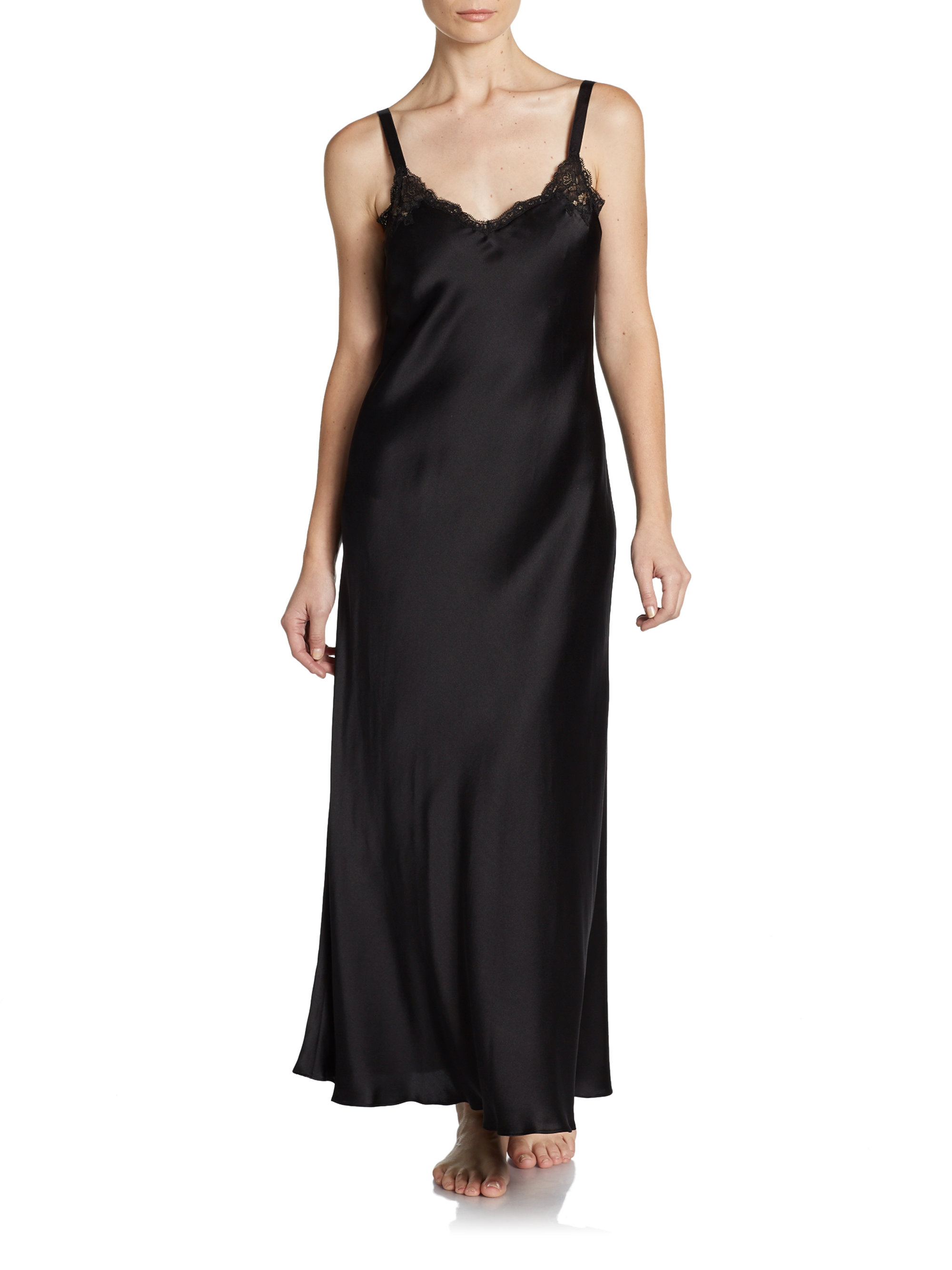 Donna Karan Lace Trimmed Silk Nightgown In Black Lyst