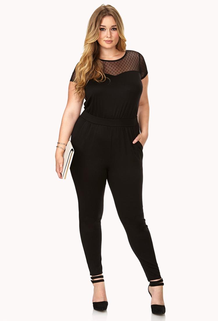 e0c6086f739b Lyst - Forever 21 Street-Femme Mesh Jumpsuit in Black