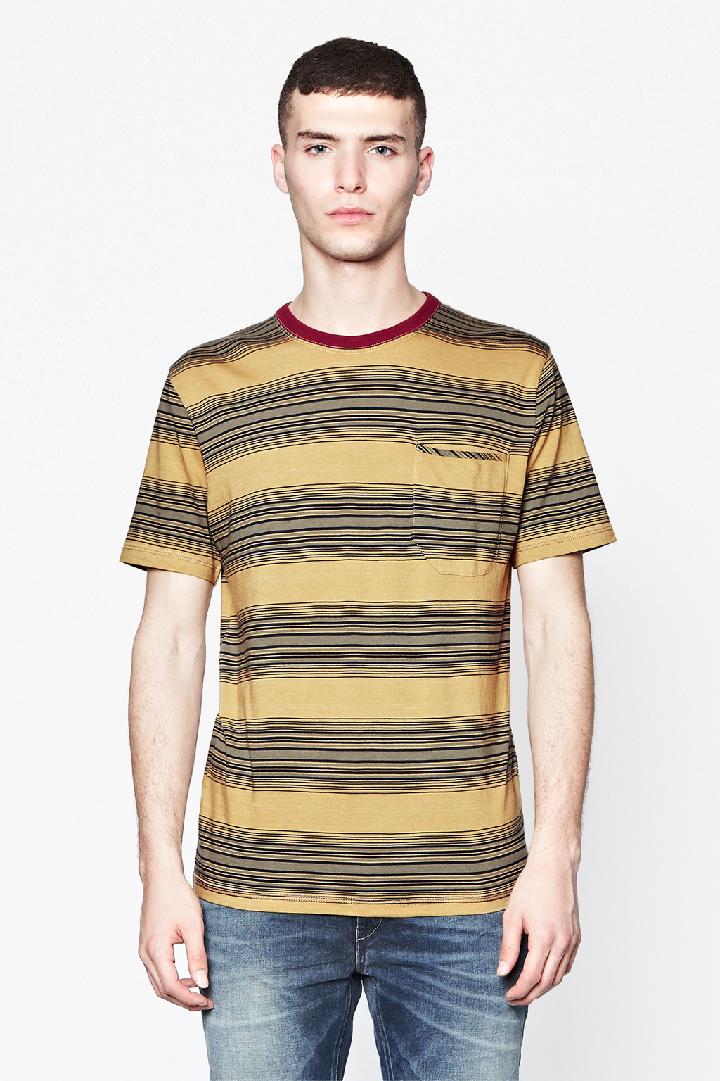french connection loose weave striped t shirt in yellow. Black Bedroom Furniture Sets. Home Design Ideas