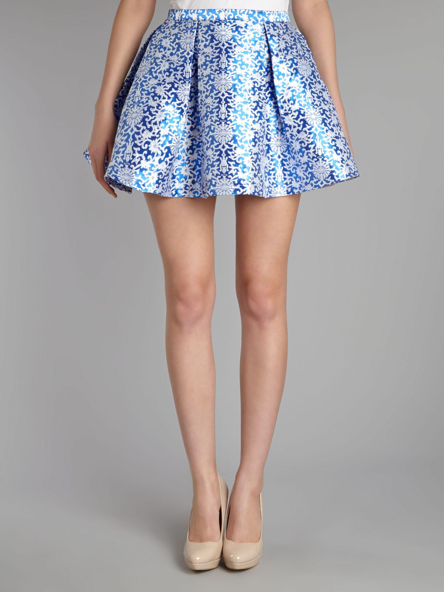 glamorous floral skater skirt in blue lyst