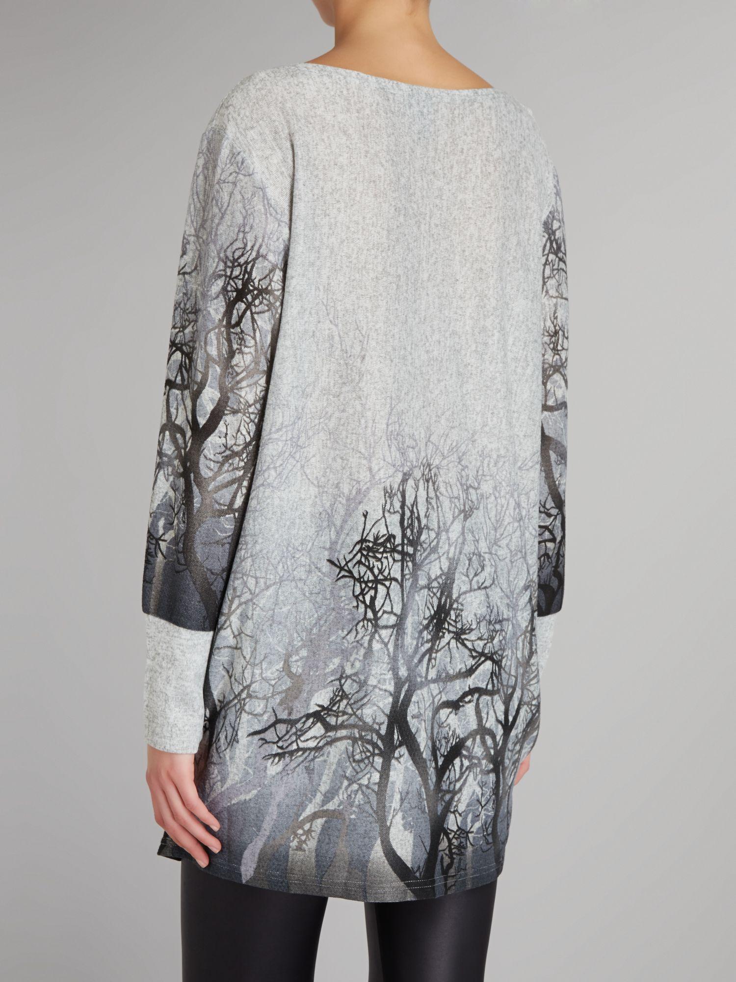 Izabel London Wool Forest Print Jumper in Grey (Grey)
