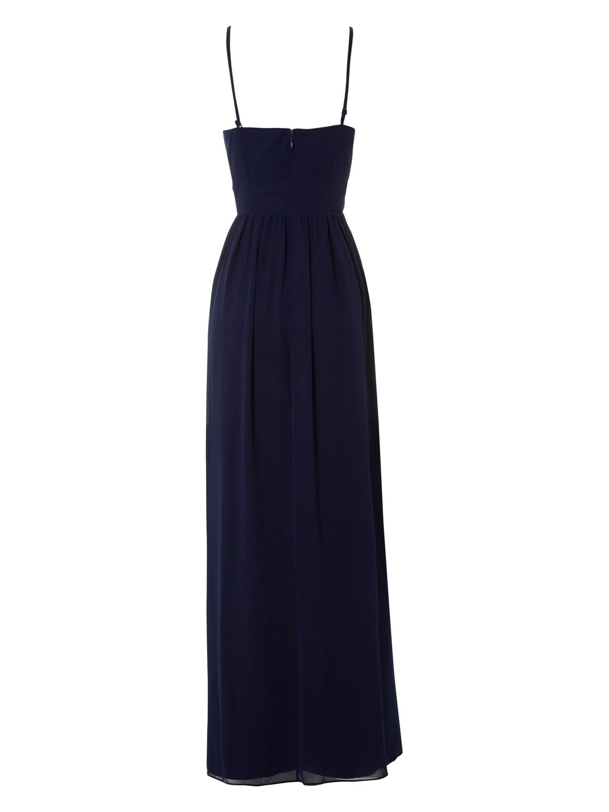Jane Norman Pleated Bust Maxi Dress in Midnight Blue (Blue)