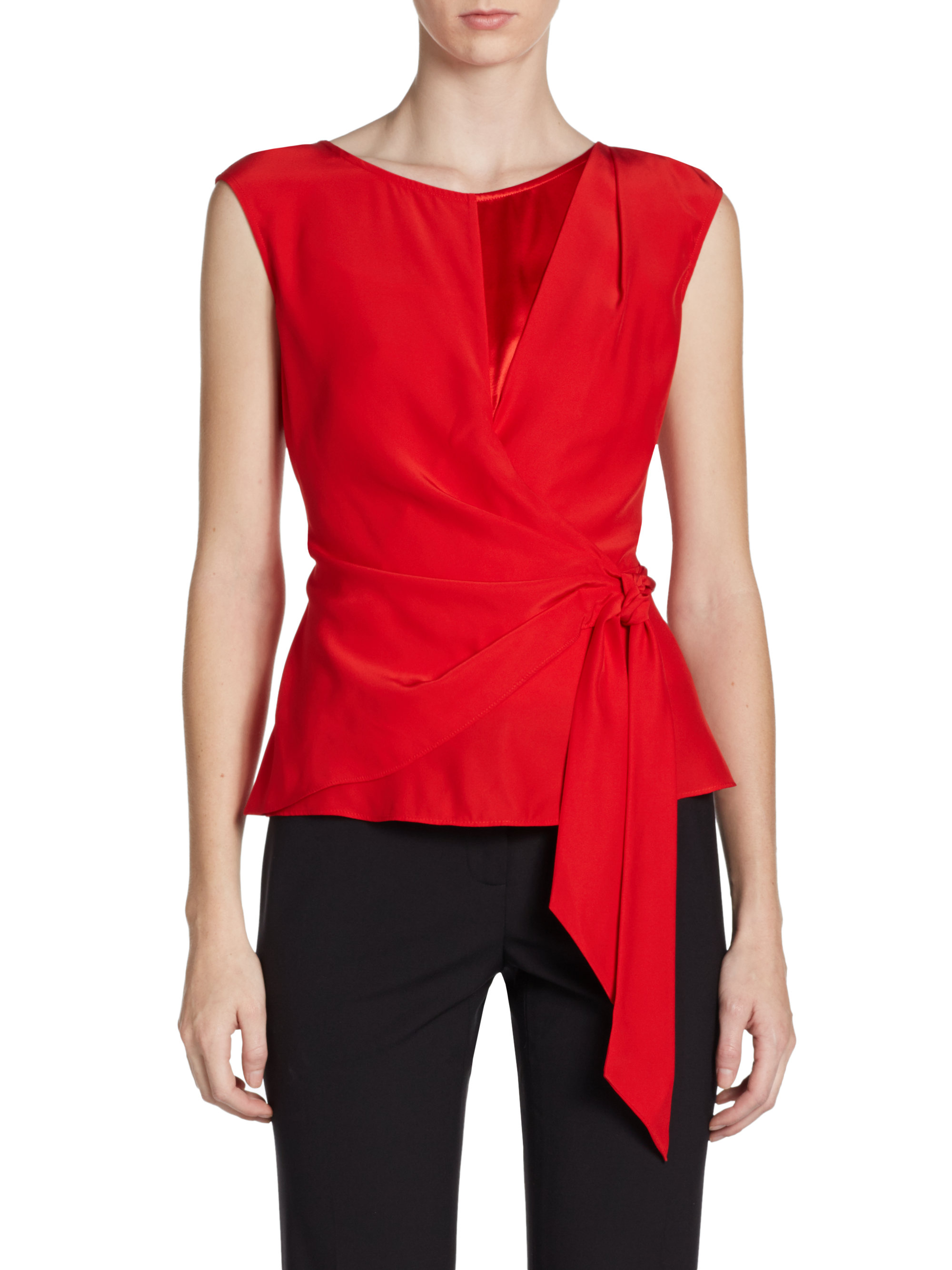 148 Best Images About Fingernail Art On Pinterest: Lafayette 148 New York Side Tie Silk Top In Red
