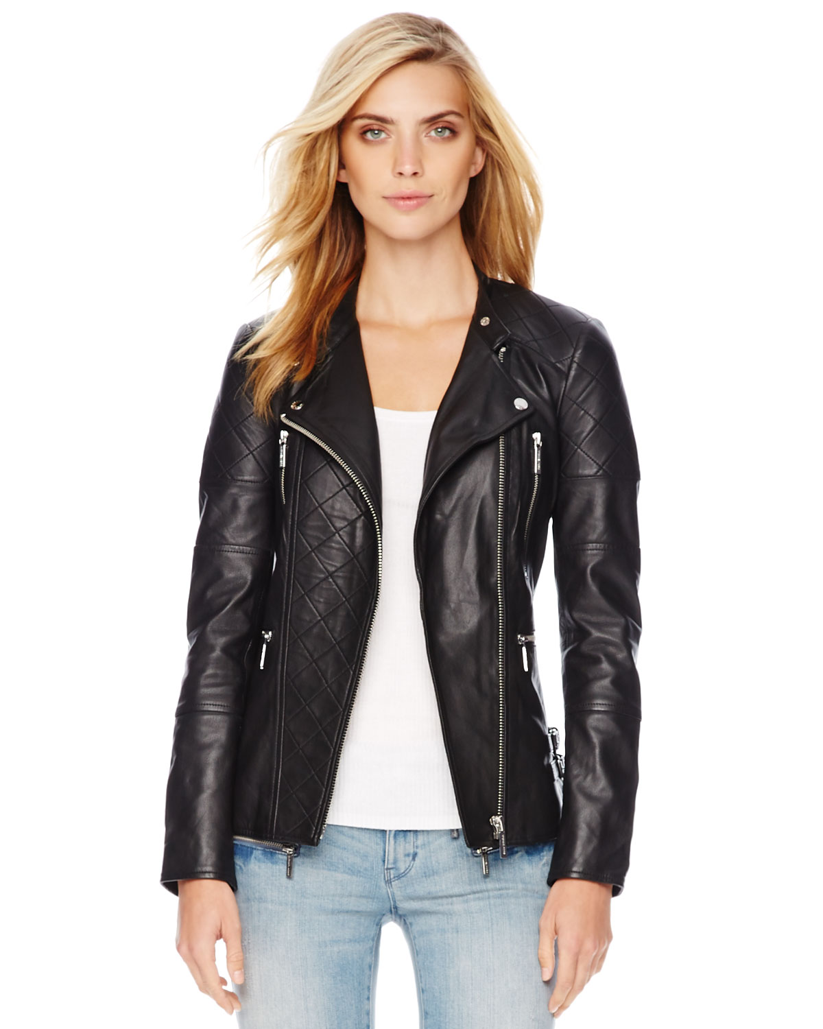michael michael kors quilted leather jacket in black lyst. Black Bedroom Furniture Sets. Home Design Ideas
