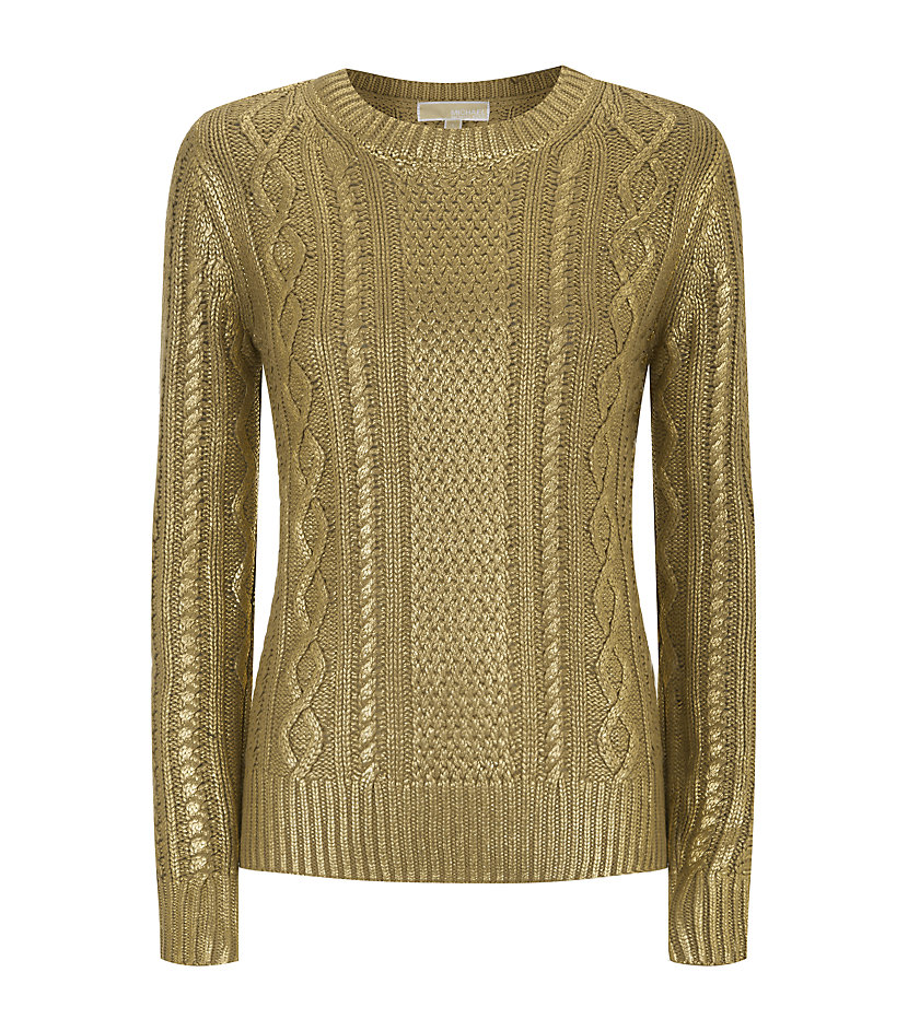 michael michael kors metallic cable knit sweater in beige camel lyst. Black Bedroom Furniture Sets. Home Design Ideas