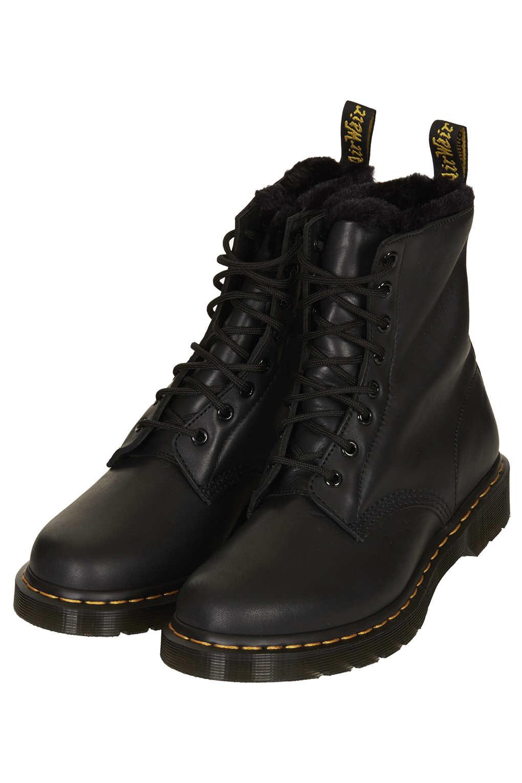 Lyst Topshop Dms Serena Fur Trim Boots In Black