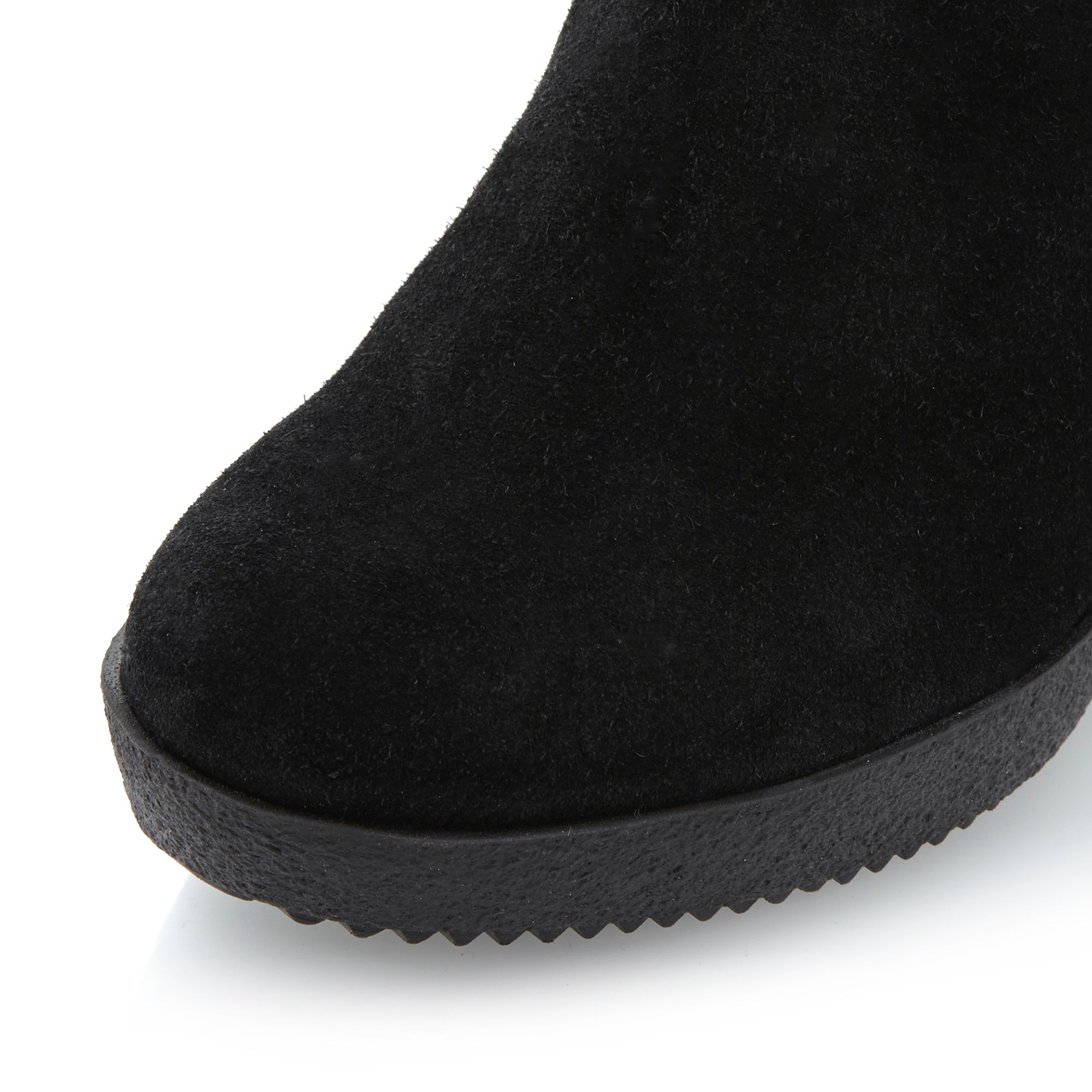 Dune Romas Fold Over Fabric Cuff Boots in Black Suede (Black)