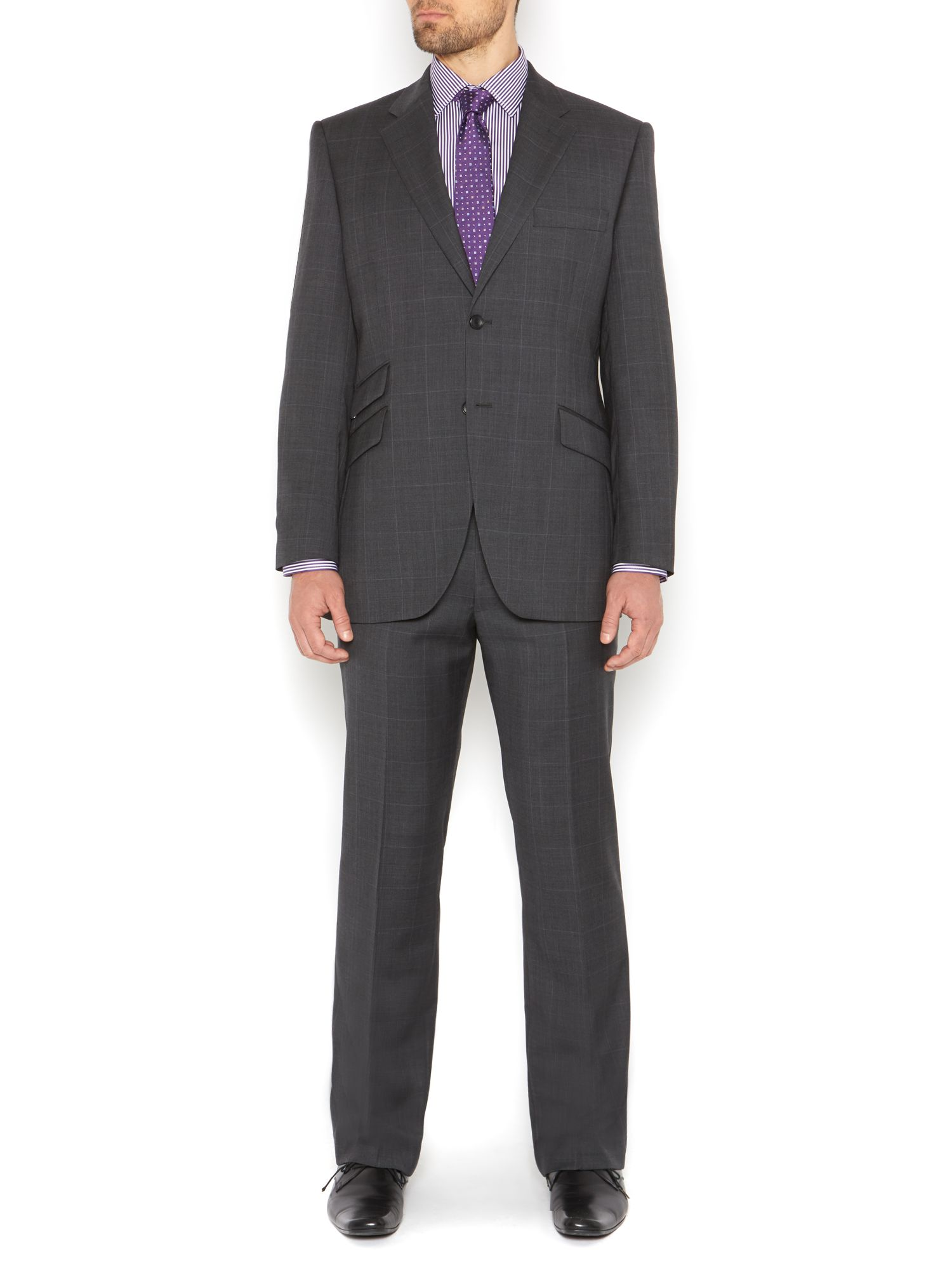 Howick Wool Franklin Prince Of Wales Check Suit Trousers in Charcoal (Grey) for Men