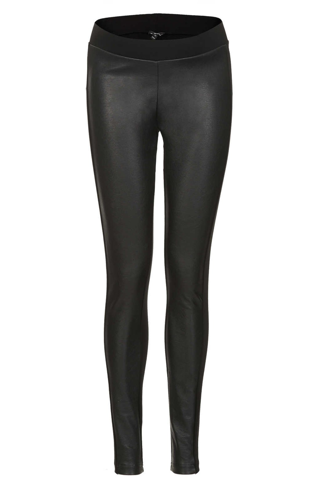Topshop Faux Leather Panel Maternity Leggings in Black