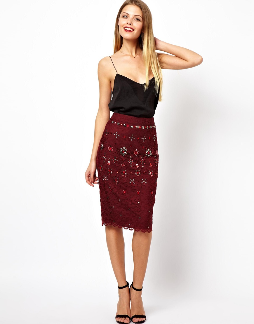 asos pencil skirt in lace with embellishment in berry