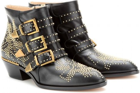 Chloe Gold Studded Ankle Boots Chloé Ankle Boots in Gold