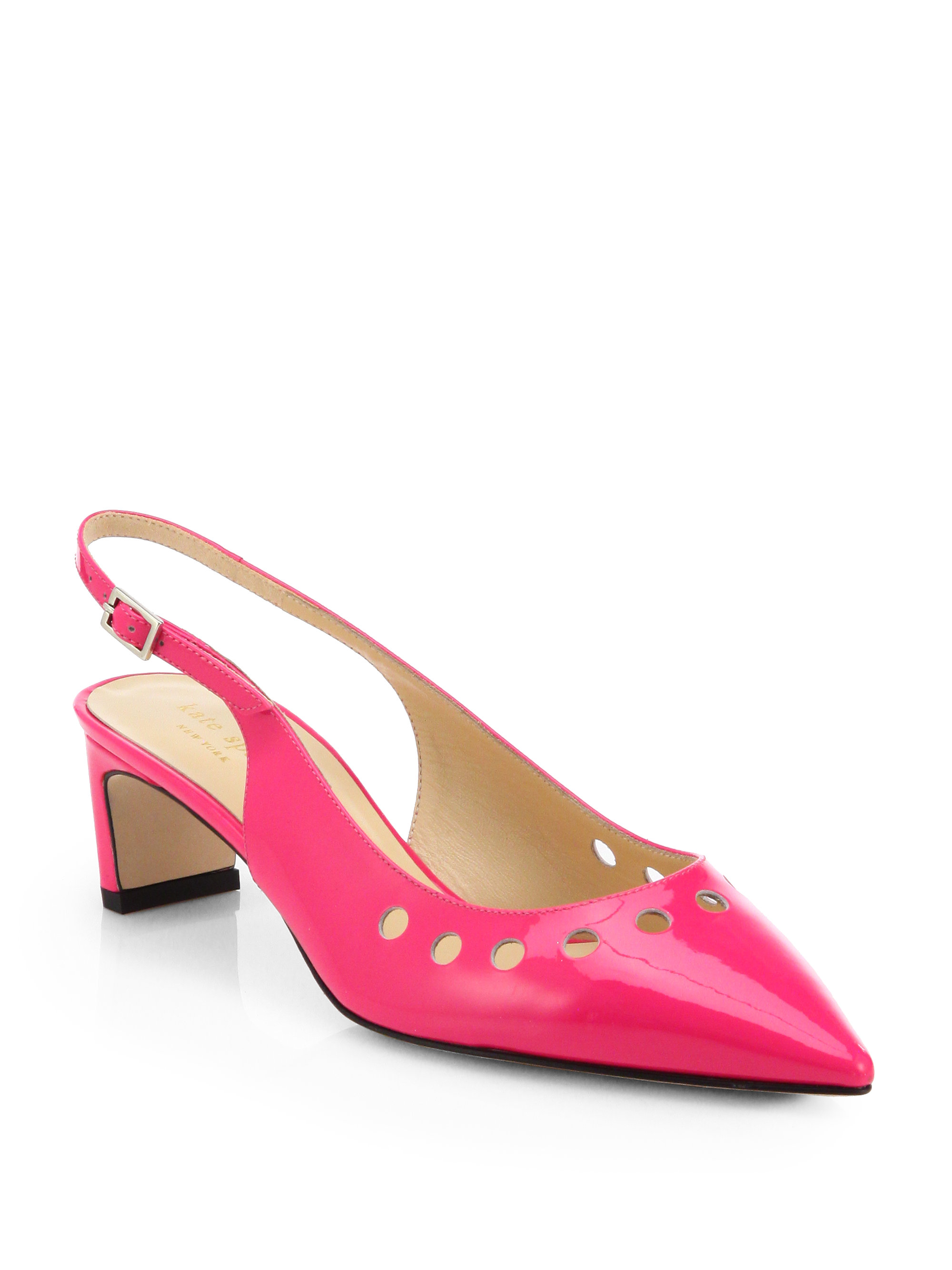 kate spade stephany patent leather slingback pumps in pink