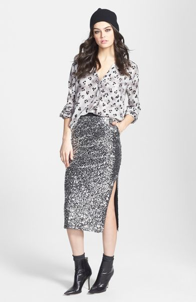 leith sequin midi skirt in silver lyst