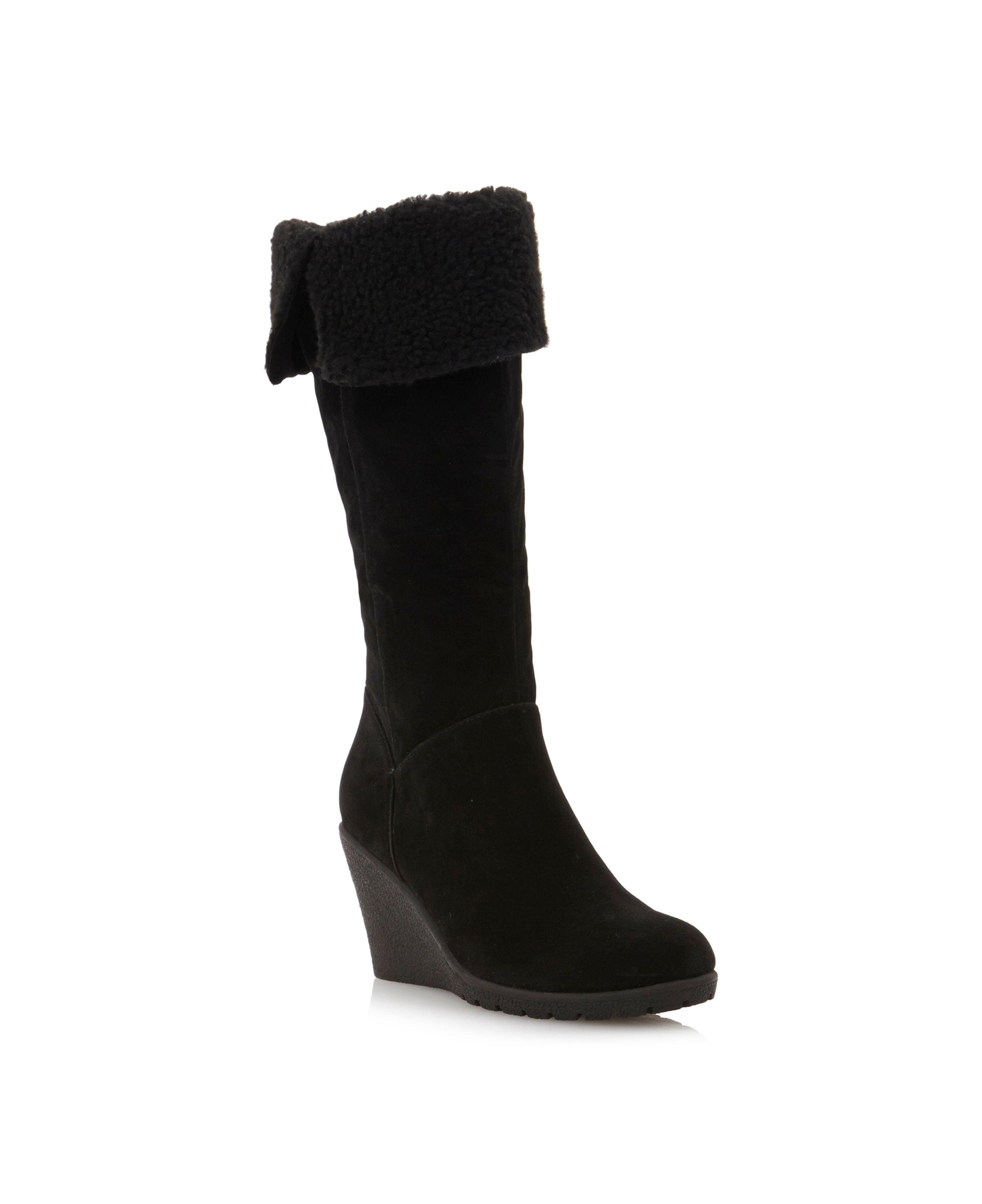 linea tahiti crepe sole wedge hi leg boots in black lyst