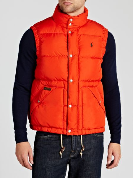 Polo Ralph Lauren Elmwood Puffer Gilet In Orange For Men