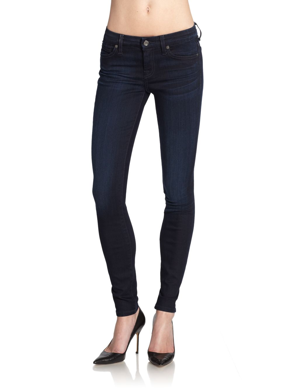7 for all mankind Gwenevere Dark Wash Skinny Jeans in Blue | Lyst